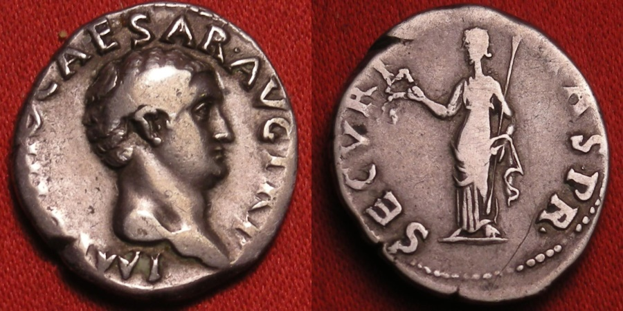 Ancient Coins - OTHO AR silver denarius. SECURITAS standing, holding wreath & scepter. Jan-Feb 69 AD.