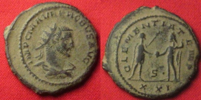 Ancient Coins - PROBUS AE antoninianus. Antioch mint. CLEMENTIA TEMP, Jupiter & Probus standing. Intact casting sprue