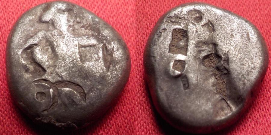 Ancient Coins - ACHAEMENID EMPIRE AR silver siglos, Kings of Persia, 375-340 BC. King with bow & spear, incuse punch.