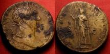 Ancient Coins - TRAJAN orichalcum sestertius. Spes holding flower, SPQR OPTIMO PRINCIPI