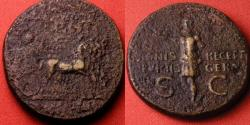 Ancient Coins - GERMANICUS AE dupondius. Struck under Caligula. SIGNIS RECEPT DEVICTIS GERM, Germanicus in quadriga