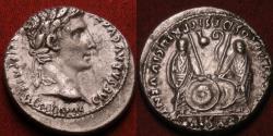 Ancient Coins - AUGUSTUS AR silver denarius. Caius & Lucius Caesars standing, shields & spears between, lituus and simpulum 'b9'