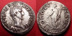 Ancient Coins - NERVA AR silver denarius. Fortuna standing, holding rudder & cornucopia