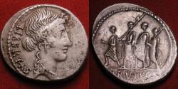 Ancient Coins - MARCUS JUNIUS BRUTUS AR silver denarius. Bust of Libertas, Consul Brutus walking with lictors.