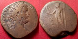 Ancient Coins - SEPTIMIUS SEVERUS AE sestertius. 196 AD. Jupiter standing, holding Victory, eagle at his feet.