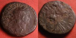 Ancient Coins - TRAJAN AE as. Early issue, 99-100 AD. Victoria advancing left, holding shield.