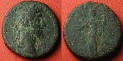 Ancient Coins - COMMODUS AE as. Rome, 191 AD. CONCOR COMMODI, Concordia standing. Scarce.