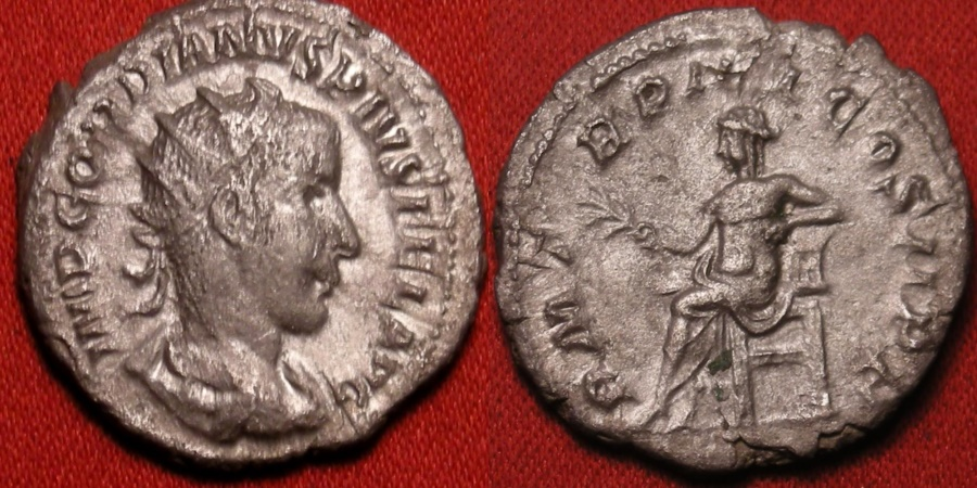 Ancient Coins - GORDIAN III AR silver antoninianus. Apollo seated, holding branch & lyre.