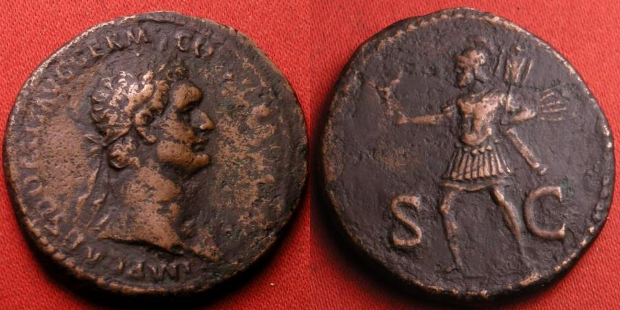 Ancient Coins - DOMITIAN AE as. Mars advancing, holding trophy & Victory.
