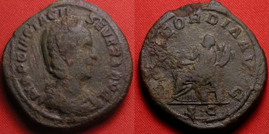 Ancient Coins - OTACILIA SEVERA AE sestertius. Concordia seated, holding double cornucopia. 32mm, 22.1g, big and heavy.