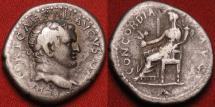 Ancient Coins - TITUS CAESAR AR silver denarius. Ephesus mint, 71 AD. Concordia seated. Rare use of IMPERATOR in obv legend