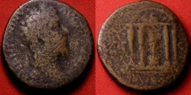 Ancient Coins - MARCUS AURELIUS AE sestertius. Domed tetrastyle temple of Mercury, herms for columns. Rare reverse depicting the 'Miracle of the Thundering Legion'.