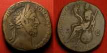 Ancient Coins - COMMODUS AE sestertius. Italia, wearing crown, seated on globe. Scarce.