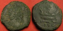 Ancient Coins - POSTUMUS AE double sestertius/dupondius. LAETITIA AVG, galley sailing right. Nice galley