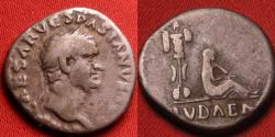 Ancient Coins - VESPASIAN AR silver denarius. Captive Jewess beneath trophy of arms. Judaea Capta. Attractive