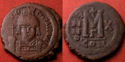 Ancient Coins - MAURICE TIBERIUS AE follis. Constantinople, year 10. Nice portrait