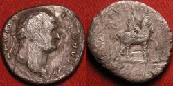 Ancient Coins - DOMITIAN, as Caesar, AR silver denarius. Pegasus walking right.