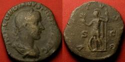 Ancient Coins - GORDIAN III AE sestertius. VIRTVS AVG, Virtus standing, holding branch & spear, shield at feet.