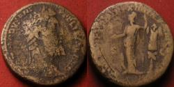 Ancient Coins - COMMODUS AE sestertius. MINER VICT, 189 AD. Minerva standing left, trophy behind. 29.3 grams!