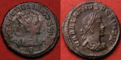 Ancient Coins - VABALATHUS DUX ROMANORUM & AURELIAN AE silvered antoninianus. Very Scarce. Excellent bust of Vabalathus