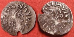 World Coins - GEPIDS, Ostrogothic migration period, AR silver quarter-siliqua. Blundered legend, inverted Theoderic monogram. Rare & interesting