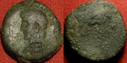 Ancient Coins - CLAUDIUS AE 17mm. Mysia, Parium. Founders olowing with oxen. CAPRICORN countermark, left facing portrait.