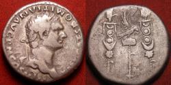 Ancient Coins - DOMITIAN AR silver cistophorus (cistophoric tetradrachm). Legionary Eagle and standards. 82 AD.