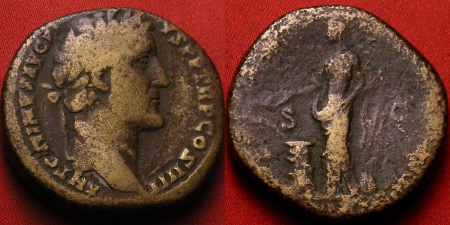Ancient Coins - ANTONINUS PIUS AE sestertius. Rome, 145-161 AD. Salus standing, holding rudder & feeding serpent arising from altar.