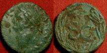 Ancient Coins - VESPASIAN AE 22mm 'semis'. Antioch. SC in laurel wreath. Attractive