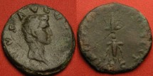 Ancient Coins - DIVUS AUGUSTUS AE as, restoration issue struck under Nerva. Winged thunderbolt. Very scarce.