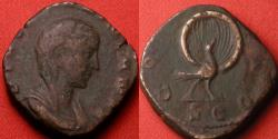 Ancient Coins - DIVA MARINIANA AE sestertius. CONSECRATIO, Peacock with tail in splendour