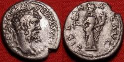 Ancient Coins - SEPTIMIUS SEVERUS AR silver denarius. Emesa mint, 194-195 AD. LIBERAL AVG, Liberalitas standing.