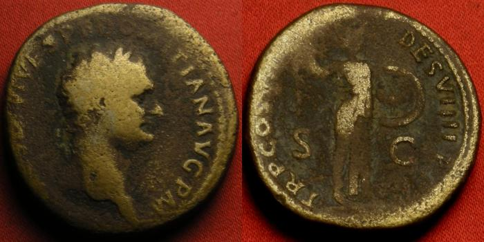 Ancient Coins - DOMITIAN AE orichalcum sestertius. Early type as Augustus, 82 AD. Minerva advancing, Consul Designatus VIIII.