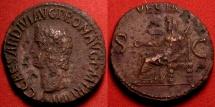 Ancient Coins - CALIGULA AE as. Final issue, 40-41 AD, TR P IIII. Vesta enthroned. Rare