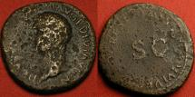 Ancient Coins - DRUSUS, son of Tiberius. AE as, RESTORATION series by Titus. Very scarce