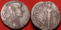 Ancient Coins - L HOSTILIUS SASERNA AR silver denarius. 48 BC. Gallia with long hair, Carnyx behind. Cult statue of Diana Ephesia standing. Very scarce. Caesar's Gallic conquest commemorative