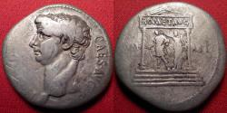 Ancient Coins - CLAUDIUS AR silver cistophorus (cistophoric tetradrachm). Temple scene, Divus Augustus being crowned by Victoria.