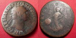 Ancient Coins - TRAJAN AE as. Early issue, 97-98 AD. Victoria advancing left, holding shield.