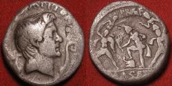 Ancient Coins - POMPEIUS MAGNUS AR silver denarius, struck by SEXTUS POMPEIUS. Struck in Sicily, Neptune standing