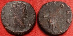 Ancient Coins - GALLIENUS AE antoninianus. PROVID AVG, Providentia standing, holding globe & scepter. 262 AD