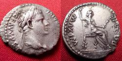 Ancient Coins - TIBERIUS AR silver denarius. PONTIF MAXIM, Livia, as Pax, seated right