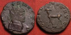 Ancient Coins - GALLIENUS AE antoninianus. DIANAE CONS AVG, Stag walking left.