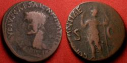 Ancient Coins - CLAUDIUS AE as. Constantia standing, holding spear. Provincial issue overstruck on a Lugdunese 'altar' as of Augustus