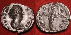 Ancient Coins - DIVA FAUSTINA SENIOR AR silver denarius. AETERNITAS, Providentia standing, veil blowing around her head.