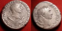 Ancient Coins - TRAJAN AR silver tetradrachm. Tyre, Phoenicia. Sturck 103-111 AD. Bust of Melqart/Herakles