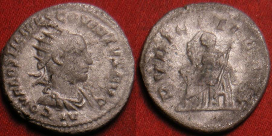 Ancient Coins - HOSTILIAN AS AUGUSTUS AR silver antoninianus. Antioch mint, July - Nov 251 AD. Pudicitia seated. Rare