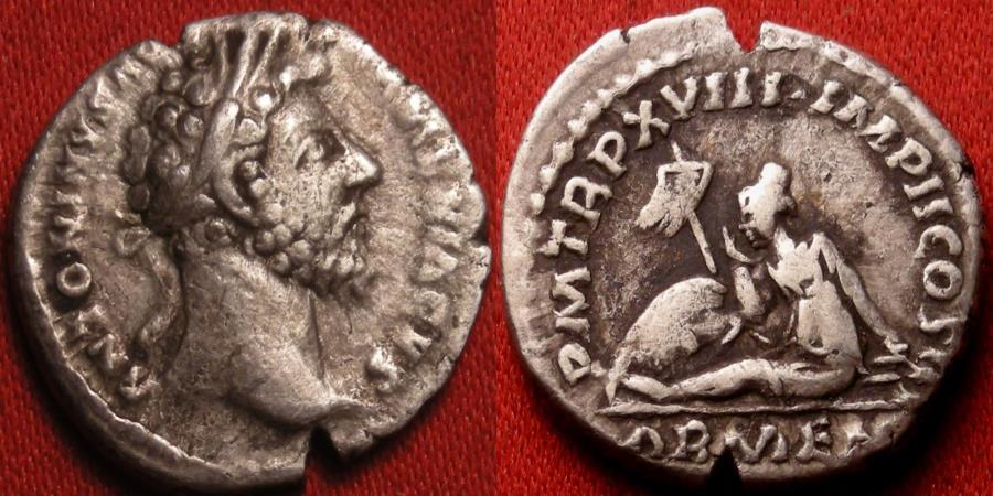 Ancient Coins - MARCUS AURELIUS AR silver denarius. Captive Armenia seated below standard & shield.