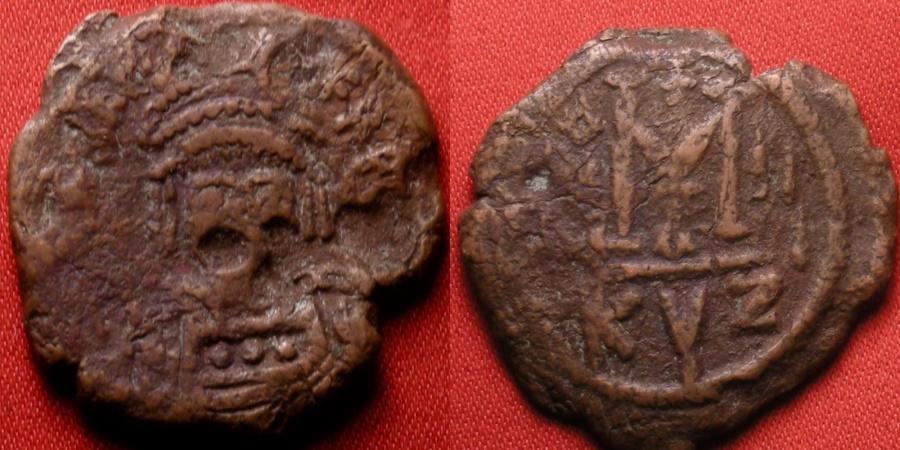 Ancient Coins - HERACLIUS AE '40 nummi' large follis. Cyzicus mint, regnal year 2 (611-612 AD). Scarce