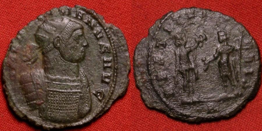 Ancient Coins - AURELIAN AE antoninianus. RESTITVT ORIENTIS, Female (Personification of the Orient) presenting wreath to Aurelian.