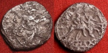 Ancient Coins - ANONYMOUS AR silver SESTERTIUS. Roman Republic, after 211 BC. Dioscuri riding, bust of Rome. 1.1g. Scarce denomination